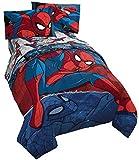 Jay Franco Marvel Spiderman Burst 4 Piece Twin Bed Set - Includes Reversible Comforter & Sheet Set - Bedding - Super Soft Fade Resistant Microfiber - (Official Marvel Product)