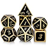 Metal Dice Set DND, 7 die Metal Polyhedral Dice Set with Metal Box Black Color and Gold Number for Role Playing Game Dungeons and Dragons D&D Pathfinder Shadowrun and Math Teaching