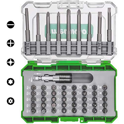 METAKOO Screwdriver Bit Set, 50 in 1 Impact Driver Bit Set, 49 Multisize Screw Bits and 1 Magnetic Extension Bit Holder, ANSI Standard, Driver Kit with Box Case - MSDB01H
