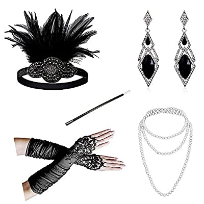 """Flapper Headband: With feather and jewel detail, perfect for 20's night, one size fits most sizes,attached to a shinning black elastic band that allows for easy adjustment 18"""" Satin Fingerless Gloves:This graceful vintage inspired pair of fashionably..."""
