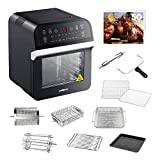 GoWISE USA GW44800-O Deluxe 12.7-Quarts 15-in-1 Electric Air Fryer Oven with Rotisserie and Dehydrator + 50 Recipes QT, Black/Silver