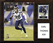 """Full lens covers to protect cards, pictures Licensed 8""""x10"""" Earl Thomas Photo Officially Licensed Trading Card 12""""x15"""" cherry wood plaque Perfect for displaying in an office, rec room or bedroom Full lens covers to protect cards, pictures"""