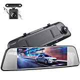 Crosstour Dual Mirror Dash Cam, Waterproof Rear View Backup Camera,7'' Full 1080P IPS Touch Screen 290° Wide Angle Cam with G-sensor, Parking Monitor, Loop Recording
