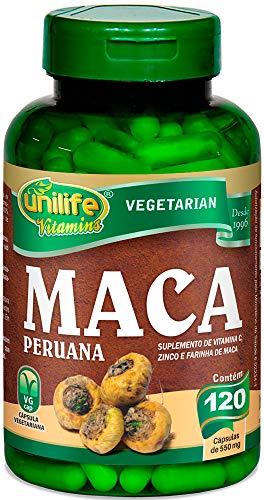 Maca Peruana Com Vitamina C e Zinco Unilife 120 capsulas 550mg