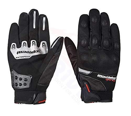 Andride Madbike Mad-14 Motorcycle Gloves Winter Warm Rainproof Windproof (Black, Medium)