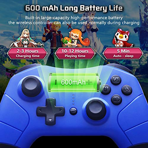 Wireless-Pro-Controller-for-Nintendo-Switch-JYSW-Wireless-Remote-Controller-Gamepad-Joypad-Joystick-for-Nintendo-Switch-ConsoleSwitch-Lite-Support-Manual-Auto-Turbo-Dual-Shock-Gyro-Axis-Blue