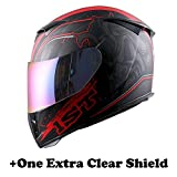 1Storm Motorcycle Full Face Helmet Skull King Matt Red+ One Extra Clear Shield, Size Large (57-58 cm,22.4/22.8 Inch)