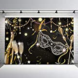 Mehofoto Masquerade Party Backdrop Retro Mask Birthday Photo Background 7x5ft Black Mask Champagne Glass Firework Feather Magic Wand Backdrops for Birthday Dance Party