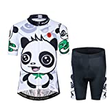 Kids Cycling Jersey Set Cartoon Short Sleeve Bike Top for Boy Girl with 3D Padded Shorts Size M