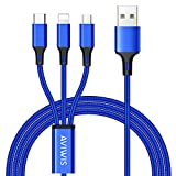 Câble Multi USB, AVIWIS 3 en 1 Multi Chargeur USB Câble en Nylon Tressé...