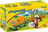PLAYMOBIL 1.2.3 Vehículo Zoo Rinoceronte, Color Multicolor, Estándar (70182)