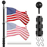 IIOPE Telescoping Flag Poles Kit, 25 FT Heavy Duty Aluminum Telescopic Flagpole with 3x5 American Flag, Outdoor In Ground Flag Pole for Residential, Yard or Commercial, Black