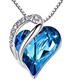 Leafael Infinity Love Heart Pendant Necklace with Bermuda Blue Birthstone Crystal for Semptember, Jewelry Gifts for Women, Silver-tone, 18'+2'