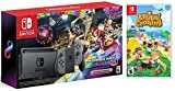 Nintendo Switch HAC 001 with Gray Joy-Con + Mario Kart 8 Deluxe (Full Game Download) & Animal...