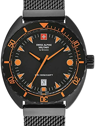 Swiss Alpine Military Herren Uhr Analog Quarz 7066.1179SAM Edelstahl