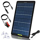 ECO-WORTHY 10W 12V Portable Solar Panel Battery Maintainer,High Conversion Power Backup Kit with Alligator Clip Adapter for Car RV Boat Automobile Motorcycle