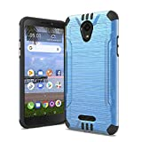 for TCL A1 Case, Phonelicious Slim Fit Brushed Metal Texture Shock Proof Lightweight Drop Protection Phone Cover Compatible with A501DL (Blue)