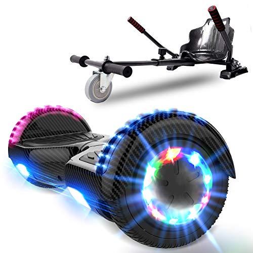 NEOMOTION Hoverboard Enfant de Overboard 6.5 Pouces et Hoverkart Gyropode avec Bluetooth LED Flash avec Roues Clignatantes Siège pour Overboard Jouet et Cadeau pour Enfants