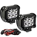 YITAMOTOR Led Light Bar 2PCS 4 inches 18W Square LED Work Light Bar Spot Led Pod light LED with Wiring Harness Waterproof for Jeep SUV Truck Car ATVs 4x4 4WD Boat Off road Driving Light 12V 24V