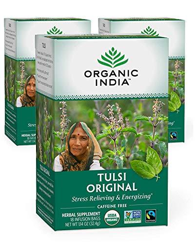 Organic India Tulsi Original Herbal Tea - Stress Relieving & Energizing, Immune Support, Adaptogen, Vegan, Gluten-Free, USDA Certified Organic, Non-GMO, Caffeine-Free - 18 Infusion Bags, 3 Pack