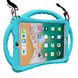 iPad 9.7 inch 2018/2017 Kids Case,iPad Air Case,TopEsct Soft Silicone Childproof Handle Stand Case for iPad 5th Generation(2017),6th Generation(2018) and iPad Air(2013) (Turquoise)