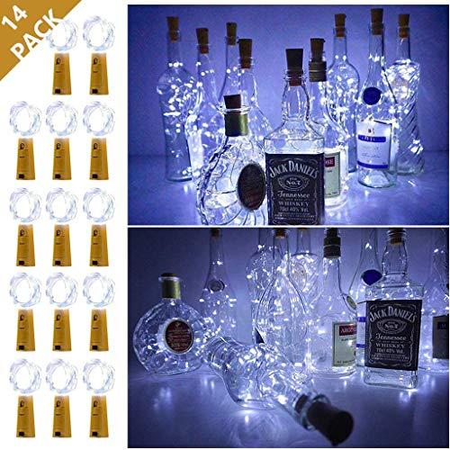Luci della stringa, luci di sughero per bottiglia di vino, 6.6ft 20 String luci a LED Illuminazione decorativa fai da te per la cerimonia nuziale della festa festivit Eventi (14 Pack),Coole white