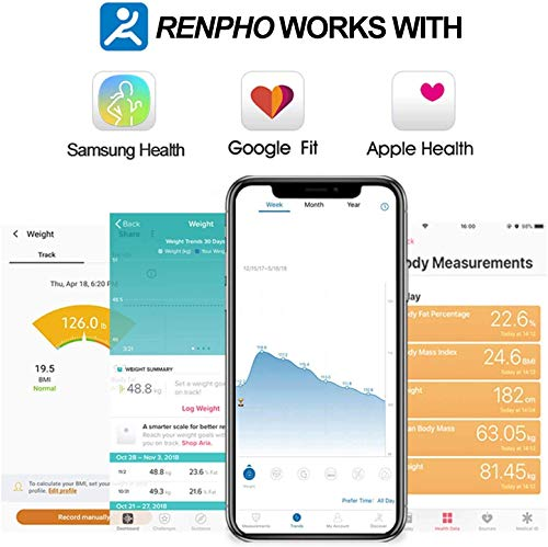 RENPHO Body Fat Scale Smart BMI Scale Digital Bathroom Wireless Weight Scale, Body Composition Analyzer with Smartphone App sync with Bluetooth, 396 lbs - Black 3
