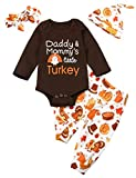 My First Thanksgiving Baby Boy Girls Clothes Long Sleeve Turkey Romper Turkey Pumpkin Pants + Headband & Hat Outfits Set (D-Brown, 3-6 Months)
