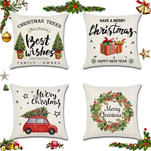 Sunshine smile 4 Pack Natale federe Cuscini,Fodere per Cuscini Natale,Fodere per Cuscini Decorate,copricuscini Divano Natale,Fodere per Cuscini Divano,Christmas Fodere per Cuscini