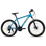 Hiland Mountain Bike 26 Inch Aluminum MTB Bicycle for Men with 16.5 Inch Frame Kickstand Disc Brake Suspension Fork CST Urban Commuter City Bicycle Blue Yellow