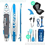 "Bluefin SUP Stand Up Inflatable Paddle Board with Kayak Conversion Kit | Ultimate iSUP Kayak Bundle (10'8"" and 12'0"") (Blue 15')"