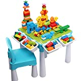 Kids 5-in-1 Multi Activity Table Set - 128 Pieces Large Building Blocks Compatible Bricks Toy, Play Table Includes 1 Chair and Building Block Table with Storage, Green Baseplate Board/Blue Color