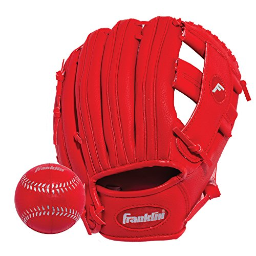 Franklin Sports Teeball Glove - Left and Right Handed Youth Fielding Glove - Synthetic Leather Baseball Glove - Ready to Play Glove (RTP) - 9.5 Inch Right Hand Throw - Red/Red with Ball