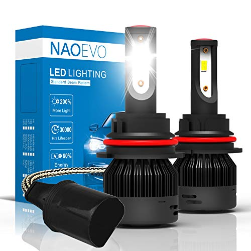 9004/HB1 (High/Low Beam) LED Headlight Bulbs, 72W 7600Lumens 6000K Cool White Super Bright, NAOEVO Upgrade Flip Chip Adjustable Beam Conversion Kit
