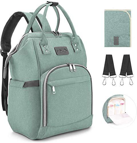Viedouce Baby Wickelrucksack Wickeltasche Babytasche,Wasserdicht Oxford Große Kapazität für ausgehen,Multifunktional zum Rucksack mit 1 Stück Wickelauflage und 2 Kinderwagengurten (Cyan)