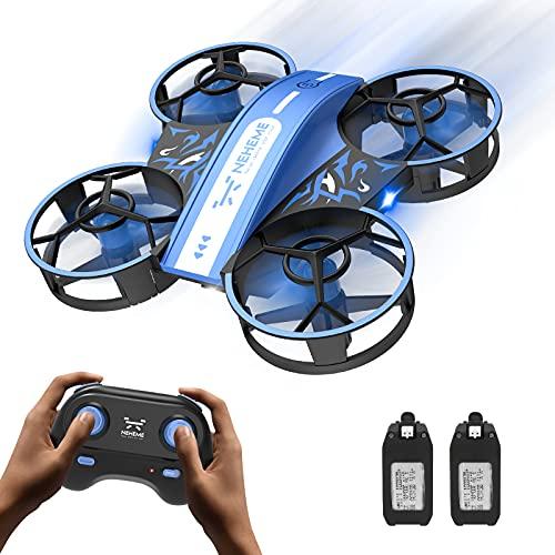 NEHEME NH330 Mini Drone per Bambini Principianti Adulti, Quadricottero RC con Modalit Headless, Lancia per Andare, Flip 3D e 2 Batterie, Giocattoli Telecomando per Ragazzi Ragazze - Blu
