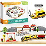 74 Pcs Toy Train Set with Battery Operated Train & Wooden Tracks -Fits Thomas, Brio, Chuggington and Other Major Brands- Kids Toys for 3+ Years Old Boys & Girls