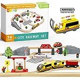 Train en Bois,Train Electrique et Véhicules & Rails Pack(74 pcs)-Convient à...