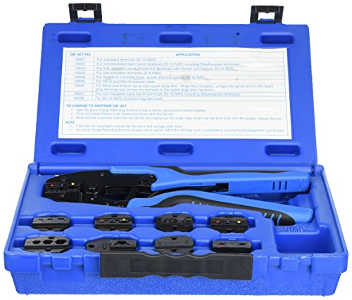 Tool Aid SG SGT18980 Ratcheting Terminal Crimping Kit (Quick Change with 9 Die Sets)