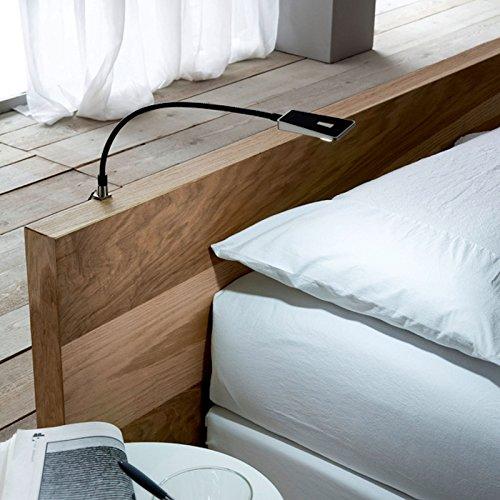 Secotec Bettleuchten LED; Schwarz; Schwanenhalslampen inkl. 1x Netzteil; 2 Stück Flexleuchten Leseleuchten