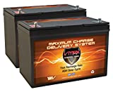 Qty 2 VMAX MR127-100, Two Group 27 12 Volt 100Ah AGM Deep Cycle Marine Batteries Compatible with 24 Volt trolling Motors, 24V 100Ah AGM Battery Kit