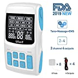 Ulaif 3 in 1 Combo TENS Unit EMS Electronic Pulse Massager With 33 Modes, 2 Channels 4 Output, Apply 8 Pads at Same Time, Handheld Electrotherapy Device, Muscle Stimulator for Pain Relief FDA cleared