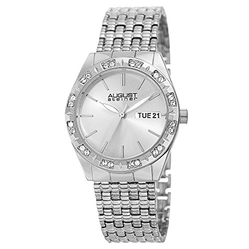 August Steiner Women's Swarovski Crystal Watch - Accented Quartz Watch, Crystal Bezel with Date Window on Silver Stainless Steel Bracelet - AS8177