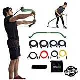 Gorilla Bow Portable Home Gym Resistance Band System, Weightlifting and HIIT Interval Training Kit, Full Body Workout Equipment (Green, Heavy Original Size)