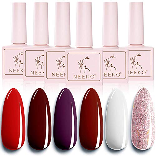 NEEKO Burgundy Red Classic Gel Nail Polish Set, 6 Colors UV Gel Nail Polish with Wine Red Purple White Glitter Pink, Soak Off LED Lamp Nail Gel Manicure Kit DIY Home Salon Nail Art