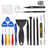 Kaisi Professional Electronics Opening Pry Tool Repair Kit with Metal Spudger Non-Abrasive Carbon Fiber Nylon Spudgers and Anti-Static Tweezers for Cellphone iPhone Laptops Tablets and More, 20 Piece