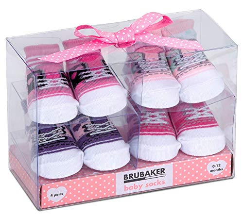 BRUBAKER 4 paia di calze neonato da 0-12 mesi - calzini femminuccia design classico in rosa