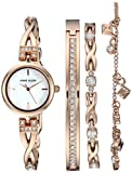 Anne Klein Women's  Swarovski Crystal Accented Rose Gold-Tone Watch and Bracelet Set