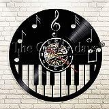 UIOLK Tocar Piano Disco de Vinilo Reloj de Pared diseño Nota Tema decoración Reloj Tiempo Hacer Regalo para Amante