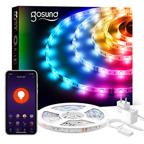 Smart Striscia Led 5M RGB, Gosund Intelligente Retroilluminazione WiFi Luci Led con APP Control, Strip LED Controllato Musica, Multicolore Nastro LED con Controllo Vocale,per Cucina, Festa, Bar ecc